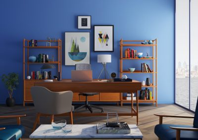 PERFECT, in it's own way.  This is a GREAT Expression of strong Blues with wood.  The SAME idea can work for a lot of different paint colors with character.  Blue is hard to work with. This is well-done.