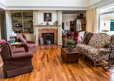 """COLOR OF FLOOR STAIN  -- Should be a """"greyer"""" version of Fireplace Stone  CHAIRS do not reach -- Replace cocktail with SQUARE 36"""" and  MOVE CHAIRS AND SOFA TOGETHER TO CREATE PATHWAYS BEHIND"""