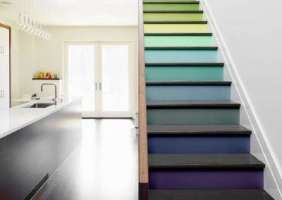 too bland or too busy - great contemp split multicolor stairs